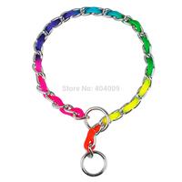 Fashion Rainbow Color Training P Choke Dog Pet Chrome Metal Chain Collars