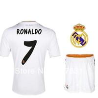 13 14 Real Madrid home soccer uniform best thai sports suit for men ronaldo ozil kaka sergio ramos football set with pants