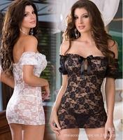 2014 new fashion Lady's robe sets sexy Dress+G-STRING sleepwear Underwear,Pajamas set women sexy  Lingerie slash neck plus size