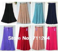 Women Pleated Retro Maxi Long Skirt Elastic WaistBand Belt Chiffon Dance women long evening skirt