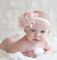 1PCS Retail Rose Pearl Flower Hair Accessories Baby Girls Headwear Infant Children Baby Hair Headband 12Colors DGM88