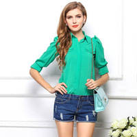 2014 new fashion women's top blouses candy color chiffon t-shirt long-sleeved cardigan body women clothes Hot Sales 1360
