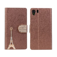 Diamond Eiffel Tower Wallet Leather Case For Sony Xperia Z1 L39h C6902 C6903 C6906 with Stand & Card Slots + Free Shipping