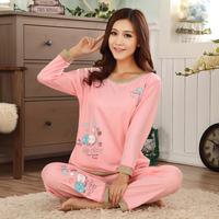 2014 seven earners female long-sleeve lounge long-sleeve sleepwear knitted cotton ball heterochrosis
