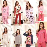 Young girl pure cotton long-sleeve set lounge female spring and autumn sleepwear 100% cartoon cotton o-neck