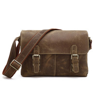 Free Shipping Good Quality Hot Sale Vintage Brown Crazy Horse Leather JMD Men's Messenger Bag Crossbody Shoulder Bag #6002B