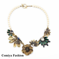 New 2014 Fashion vintage luxurious pearl chain green crystal flower women sweater choker necklace & pendants bijou brand jewelry