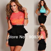 Plus Size M L Celestial Floral Lace Black Peplum Dress New Fashion 2014 Women Crochet OL Work Office Career Backless Dress 0429