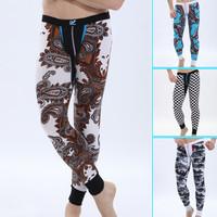 WJ New Sexy Men Warm Long Johns Soft Modal Thermal Underwear/Men Low Convex Snug Sleepwear Warm Pants Printed Trousers Leggings