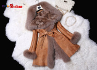 2014  women's medium-long slim sheepskin genuine leather overcoat with fox fur collar Sheepskin vest coat