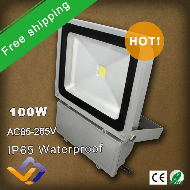 Spedizione gratuita ha condotto la luce di inondazione 100w illuminazione esterna lampione 2 pezzo/pacco 85v-265v ip65 portato lampada a luce bianca