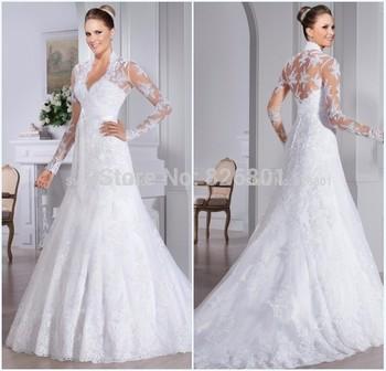 Свадебные платья Novia 2015 с длинным рукавом кружева свадебное платье бальное платье свадебные платья 2015 халат де Mariage Vestido де Casamento
