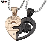 Fashion couple necklaces pendants rose gold and black color open heart pendant  jewlery