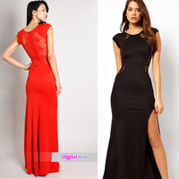 2014 Fashion Sexy Red/ Black Evening Dress Ankle-length Perspective Dress Party Evening Elegant For Women Fast Delivery #303F