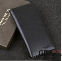 Harrms male cowhide purse clip thin long design cowhide wallet male wallet black