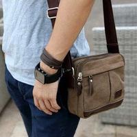 new fashion korea style Men's retro Canvas Shoulder Messenger travel leather Bag Satchel duffel bags briefcases brown #HW03022