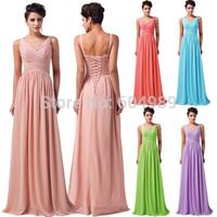 2014 Grace Karin Elegant Sexy Dark Salmon Evening Gown Deep V Ruched Chiffon Formal Long Prom Dresses Women Party Dress CL6010