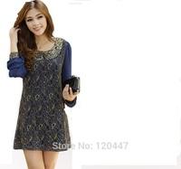 new spring summer 2014 fashion L XL XXL 3XL 4XL high quality lace girl chiffon skirt knee-lengthretal dress wholesale free ship