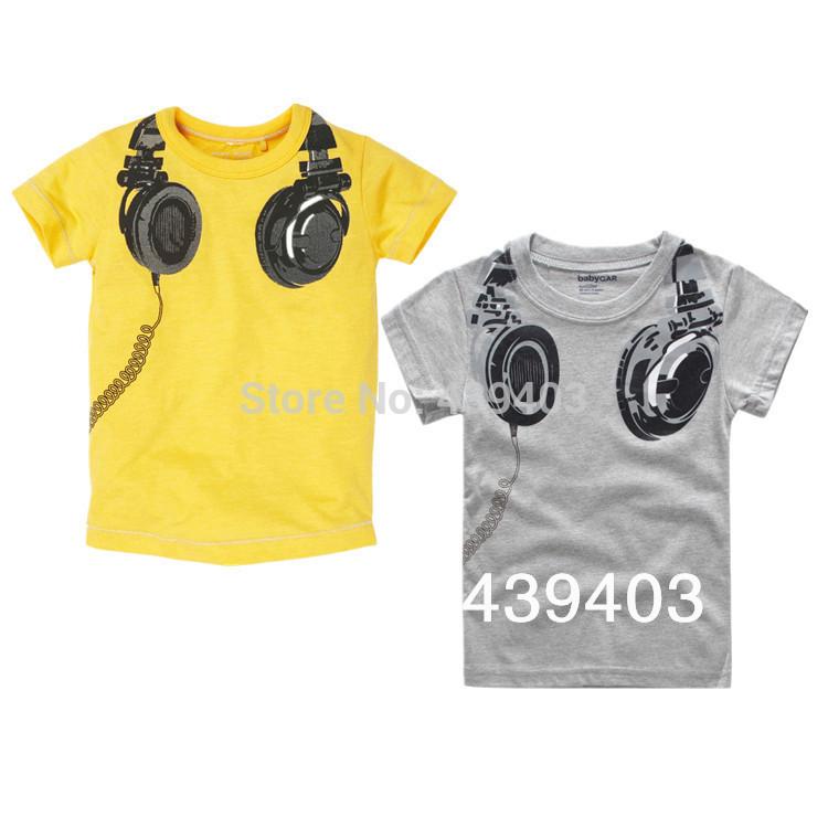 Free Shipping children t shirts kids summer baby boys girls t shirts listen music headphones design fashion cotton tees t shirt(China (Mainland))
