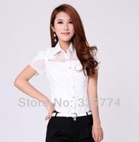 CS214 Women Shirt Summer Fashion Tops Sexy Chest Lace Chiffon Blouse Short Sleeve Shirt Women Clothing White Plus Size S XXXXXXL