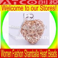 new arrival shamballa necklace heart pendants necklaces clear CZ crystal snake chain fashion jewelry free shipping Shambala Ball