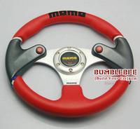 Personality!HOT!!13inches MOMO PU PVC Steering Wheel, racing car steering wheel Aluminum alloy,Three horn button,EK10717