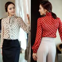 2014 Regular Formal Hot Sale Spring Korean Women's Flounced Collar Sleeves Shirt Slim Polka Dot Blouse Femininas Blusas Coreano
