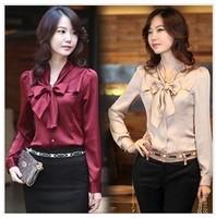 Korean New Fashion Spring Autumn Women Satin Blouses Bow Tie Lapel Long Sleeve Female Office Work Wear Shirts Blusas Feminino