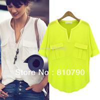 Fashion Women's Summer Short sleeve V-neck 100% Modal with Cotton Blend T-shirt Basic Tee t shirts Tops Shirt 1pcs/lot