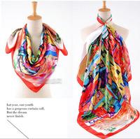 Women's scarf small fresh decoration faux silk large facecloth shawl hijab SC0271
