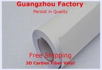3D Carbon Fiber Vinyl Film,Size 1.52M*30M Car Styling With Air Channel,Carbon Fiber Vinyl Car Full Body,Car Accessories,White