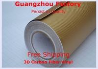 3D Carbon Fiber Vinyl Film,Car Styling With Air Drain,Size 1.52M*30M Car Full Body,Carbon Fiber Vinyl,Car Accessories,Gold