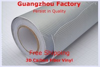 3D Carbon Fiber Vinyl Film,Car Styling With Air Drain,Size 1.52M*30M Car Full Body,Carbon Fiber Vinyl,Car Accessories,Silver