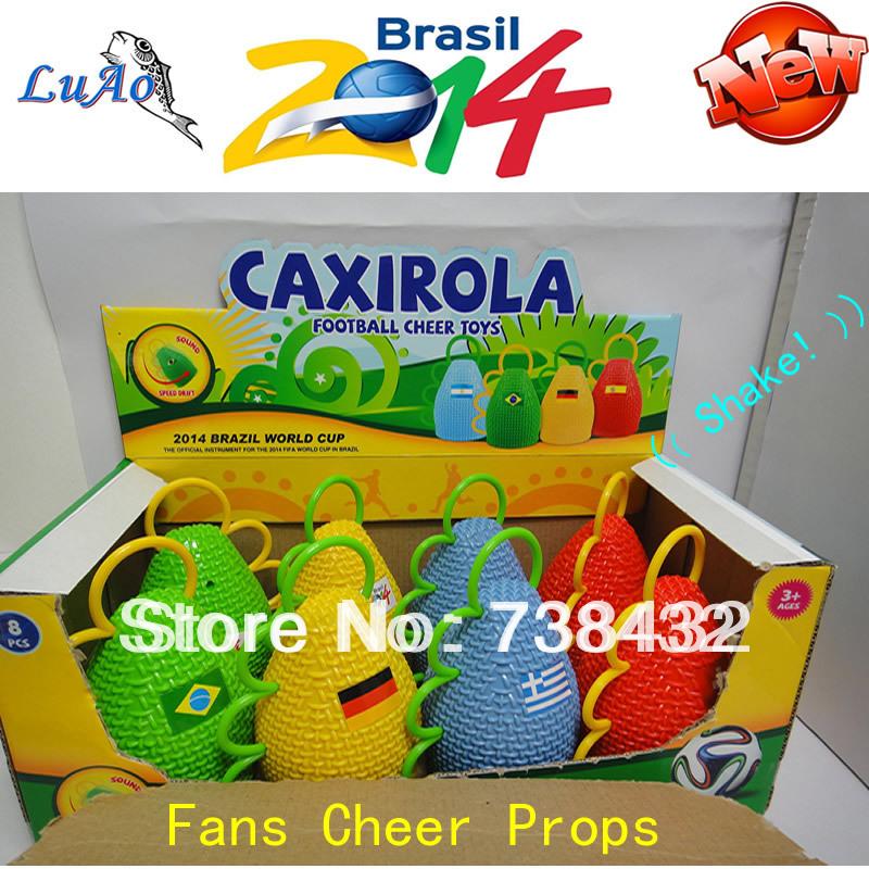 Factory Direct !!! 8Pcs=1Box Caxirola New Vuvuzela Brazil 2014 World Cup Fans Cheer Props Soccer Football Fan(China (Mainland))