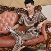 Male summer short-sleeve silk sleepwear 2014 luxury Pajamas men clothing casual lounge set   Free shipping