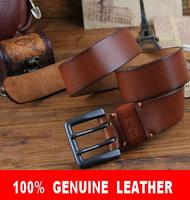 100% Cowhide Genuine Leather New 2014 Man TOP Brand 4.2cm Super Wide Quality Double Pin Belt Men Strap Cinto Ceinture MBT0138