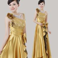 New Arrival 2014 One Shoulder High Quality Zipper Long Design Vestidos Slim Bride Evening Dresses Romantic Fashion Bridal Gown