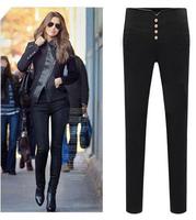 Hot Sale Plus Size Women Pants 2014 Fashion Autumn Summer Black Button Casual Pencil Pants Ladies Elegant Trousers P025