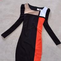 4xl plus size 2014 spring summer women fashion stripes puff sleeve color block patchwork slim long sleeve one-piece dress PH0522