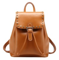 2015 NEW Designer Fashion Trendy Genuine Leather Women Travel Backpacks Casual Lady College Backpack With String Free Shipping