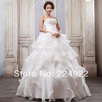 2014 New Fashionable Romantic Sexy Vintage Bandage Wedding Dress Pearls Salomon Real Photo Plus Size Princess Ball Gown Dress