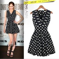 New 2014 Women Summer Dress Slim Waist Sleeveless Dot Print Dresses V-neck Tunic Ball Gown Casual Dress Elegant Party Dresses