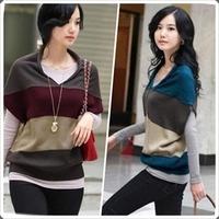 Stripe pullover spring  new 2014 sweater women fashion bat sleeve loose sweater bottoming shirt women's t-shirt coat