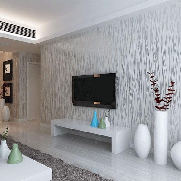 Fashion 10m non woven flocking vertical stripe wallpaper for Beige living room wallpaper