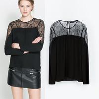 Free Shipping Lace Blouses Women 2014 za**Brand Blusa Chiffon Shirt plus size Vintage Dress crochet  Autumn -Summer