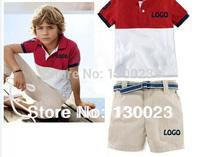2014 Summer kids polo clothing sets boys brand clothes children sport suit t shirt+shorts 2pcs sets Retail(don't have belt)