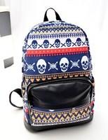 3 Color Pblock female backpack school skull bag women's bag preppy style print new arrival backpack skull backpack women