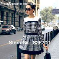 New Arrivals 2014 Fashion Vintage O-neck Long-Sleeved Plaid Retro Women Party Dress Ladies Dress M/L/XL/XXL#W0010