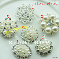 silver alloy button rhinestone accessories for craft and hair accessory handmade(20 pieces/lot )