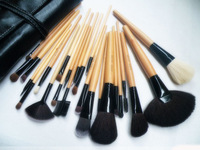 FREE SHIPPING ,  Long shank 24 cosmetics wholesale makeup brushes 24 brush set